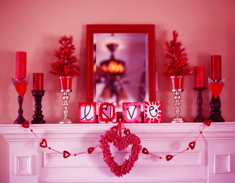 decoracion san valentin preciosa chimenea ideas