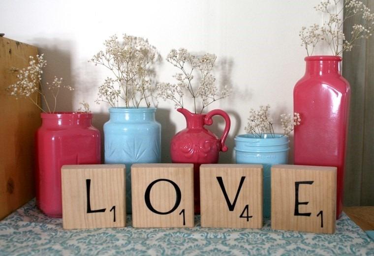 decoracion san valentin preciosa jarrones colores ideas