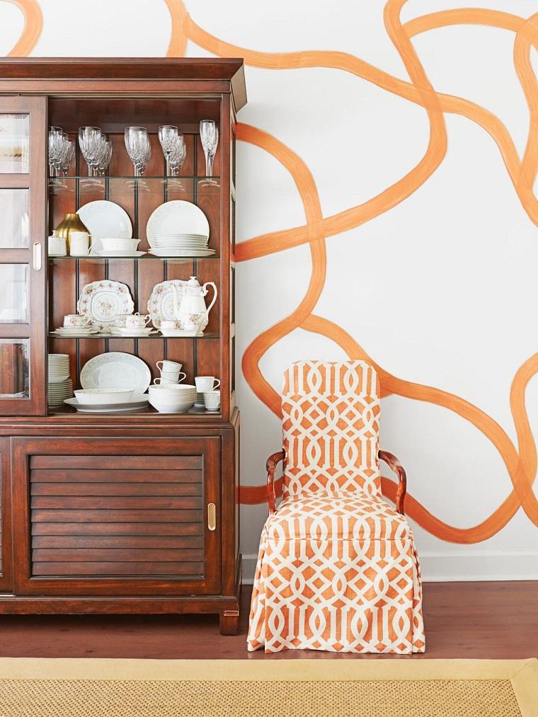 decoración vintage aramario madera silla ideas