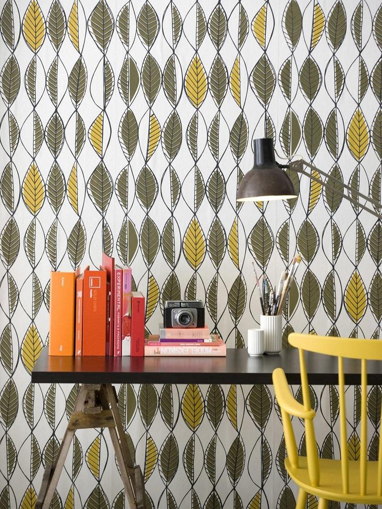 decoración vintage escritorio papel pared ideas