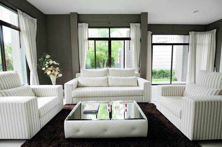 decoraciones salones muebles blancos alfombar negra ideas