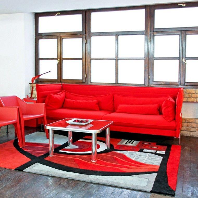 decoraciones salones muebles rojos ideas