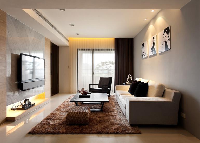decoracion salon alfombra color marron