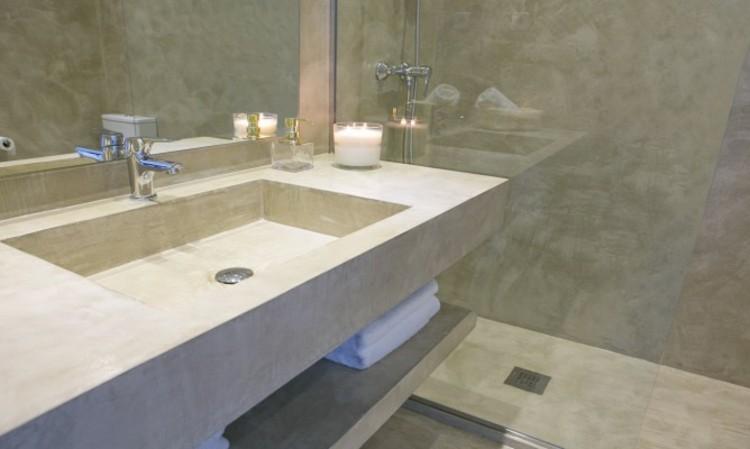 Baño Microcemento Blanco:Microcemento baños con cubiertas frescas y atractivas