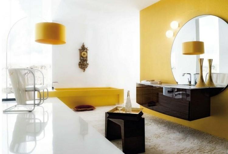 decorar baños espejos blanco amarillo
