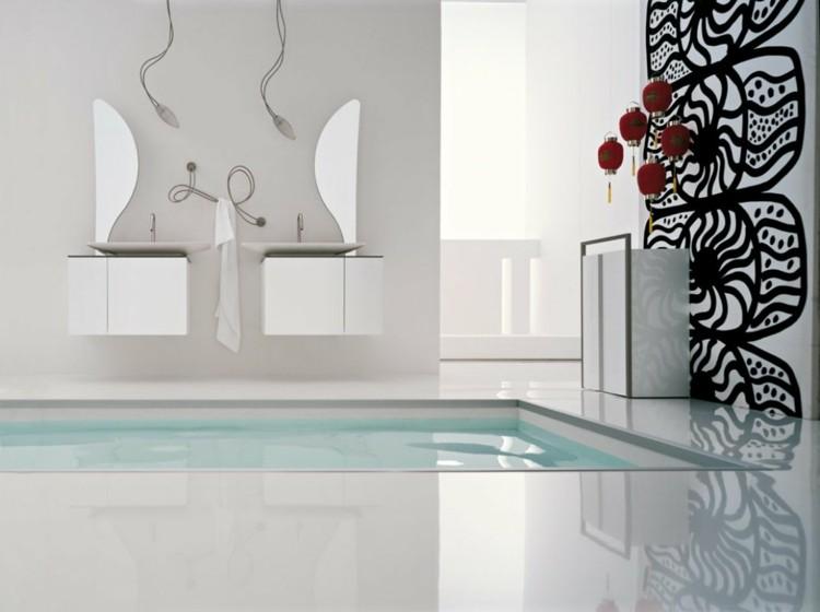 decorar baños mesa espejos asiatico negro