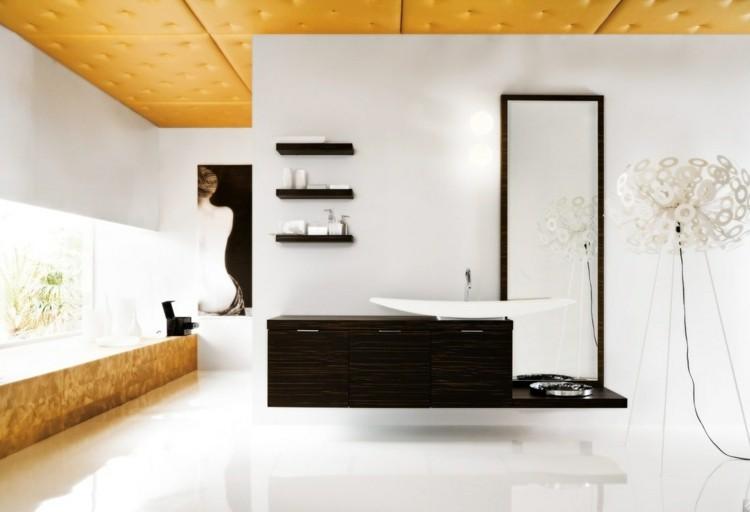 decorar baños mesa espejos blanco lamparas