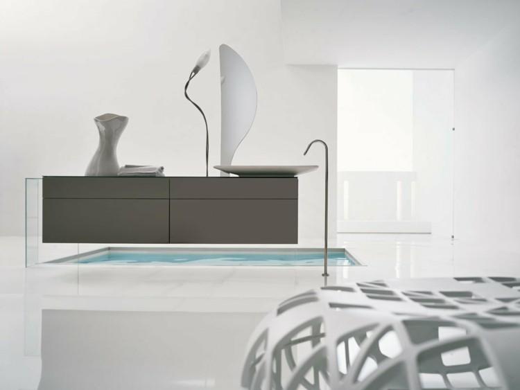 decorar baños mesa espejos minimalista blanco