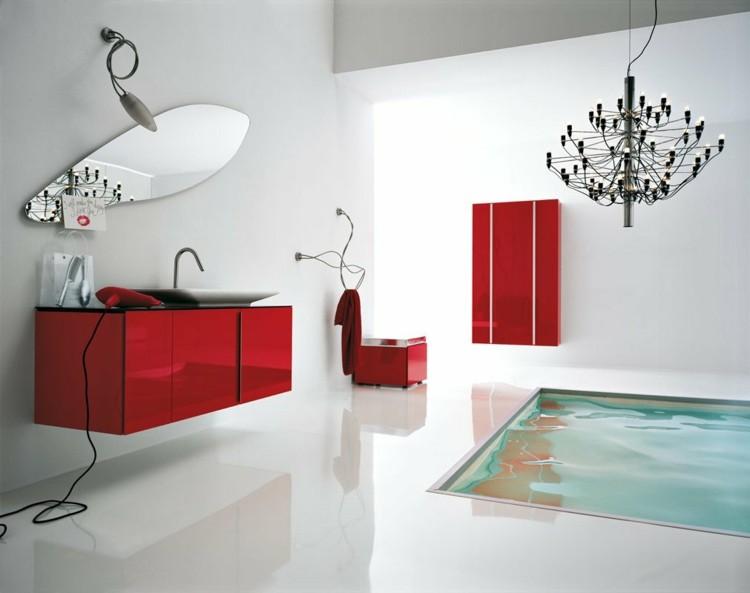 decorar baños mesa espejos rojo