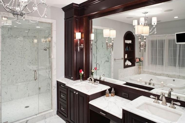 decorar baños estilo originalidad dos lavabos espejo ideas