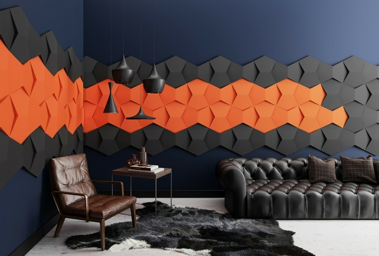 decorar pared combinacion negro naranja ideas
