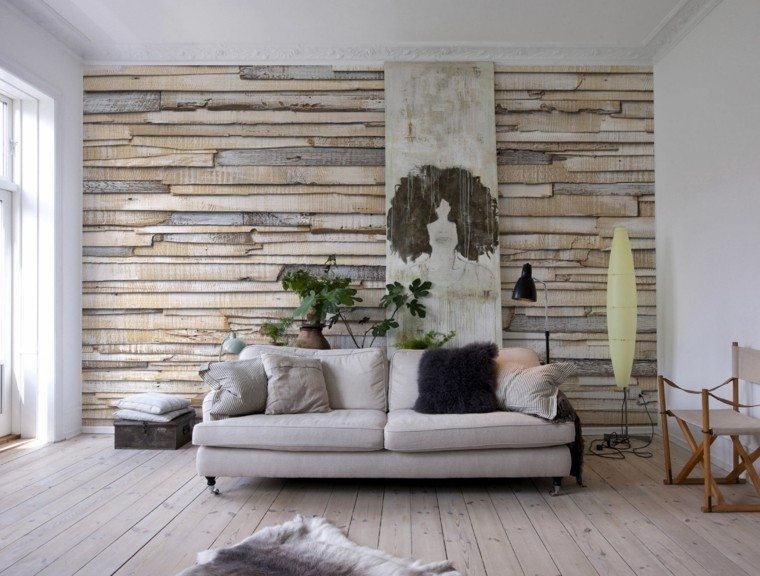 decorar pared madera natural preciosa ideas