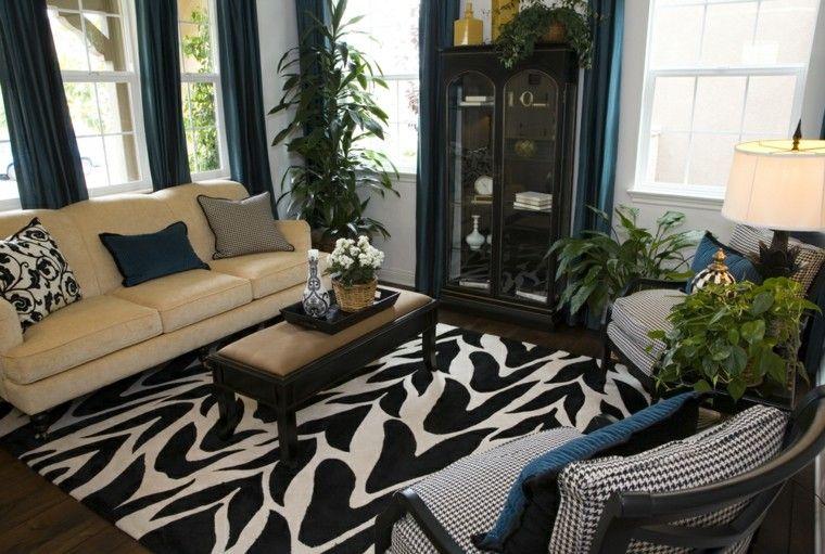 decorar salon pequeno alfombra blanco negro ideas