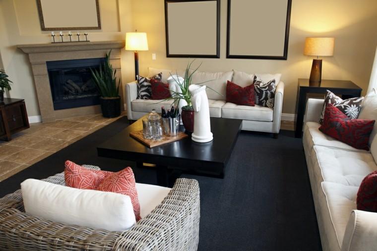 decorar salon pequeno alfombra color azul oscuro ideas