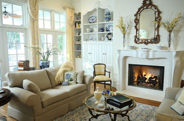 decorar salon pequeño chimenea blanca ideas