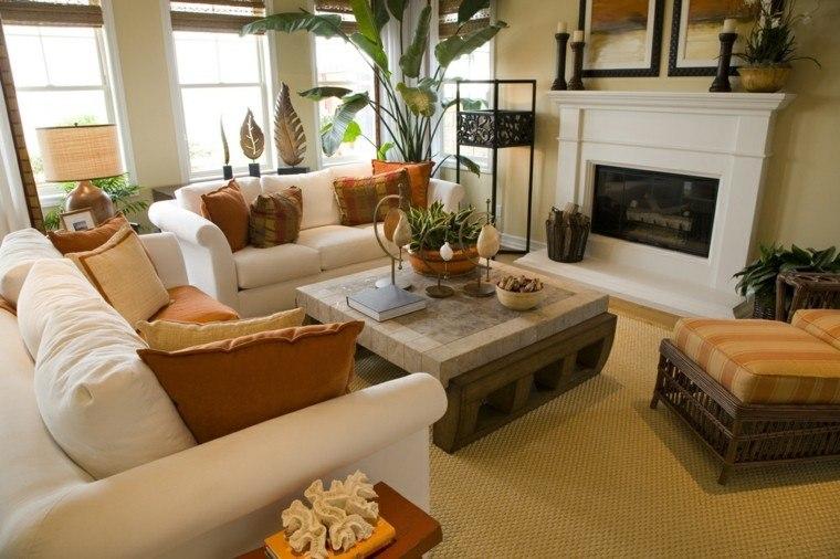 decorar salon pequeño cojines naranja ideas