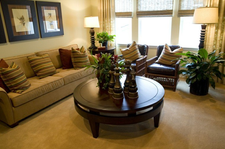 decorar salon pequeno mesa redonda madera ideas