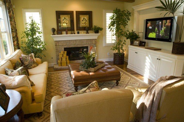 decorar salon pequeno otomana cuero plantas ideas