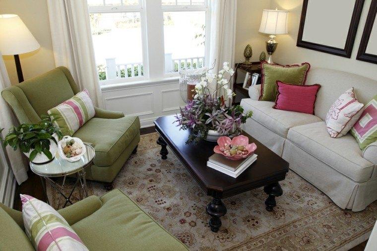 decorar salon pequeno sillones verdes ideas