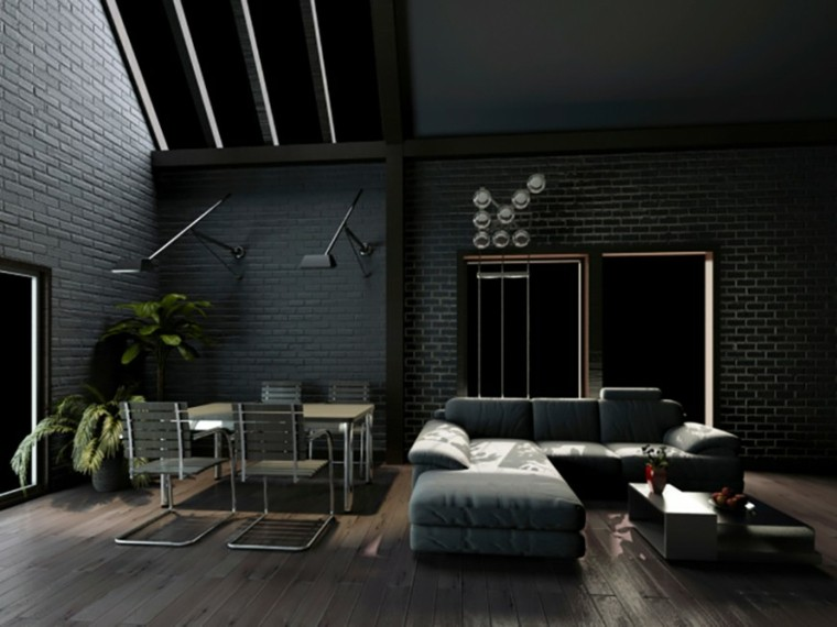 decorar salon color negro pared ideas