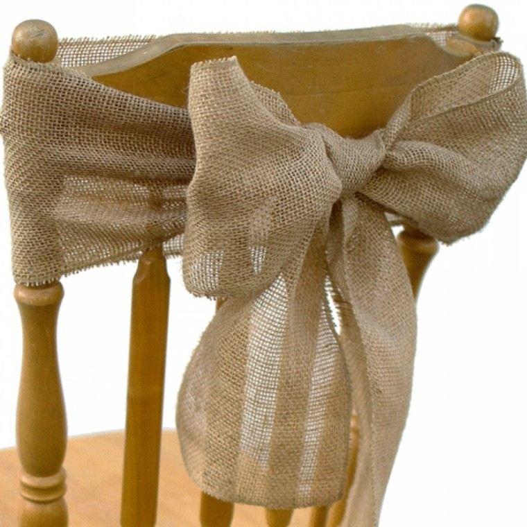 sillas lazos decorativos arpillera ideas