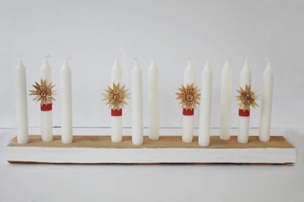 diseño portavelas blancas madera
