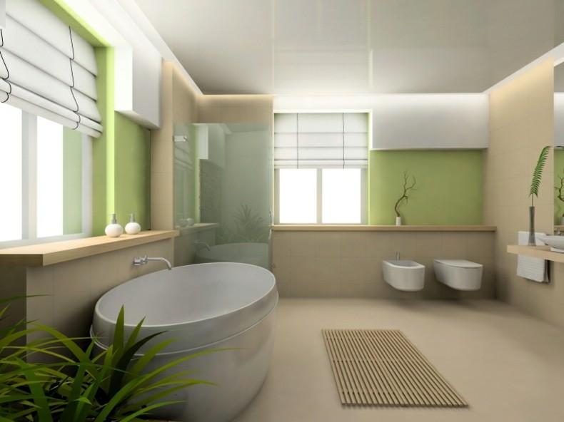 diseño baño color beige verde