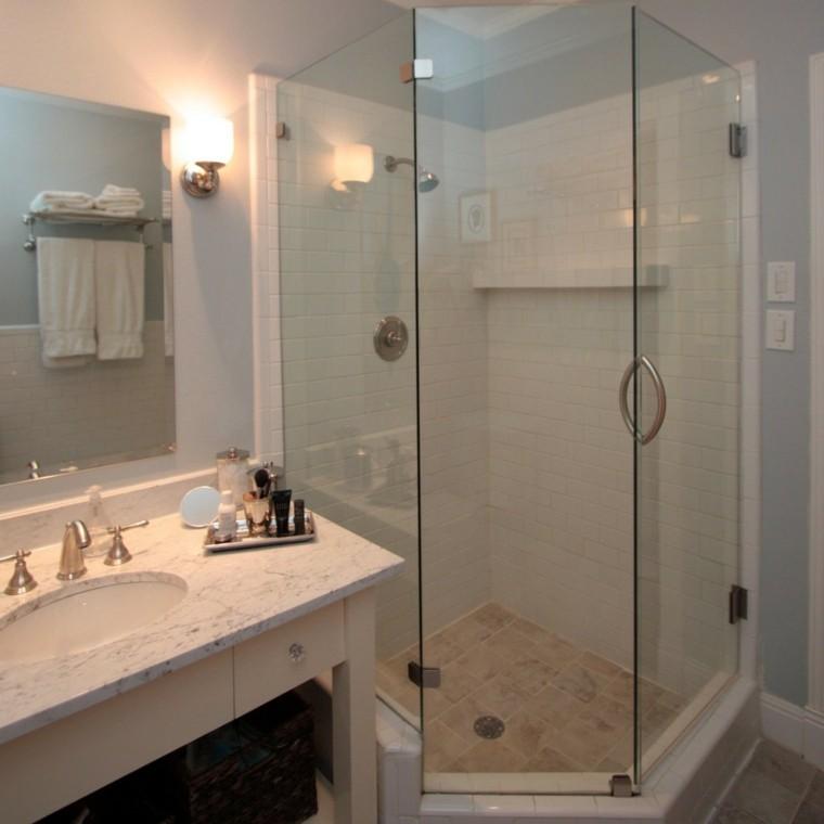 diseño baño celeste cabina ducha
