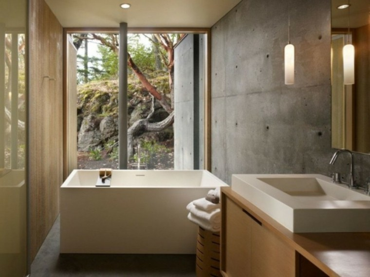 diseño baño pared cemento