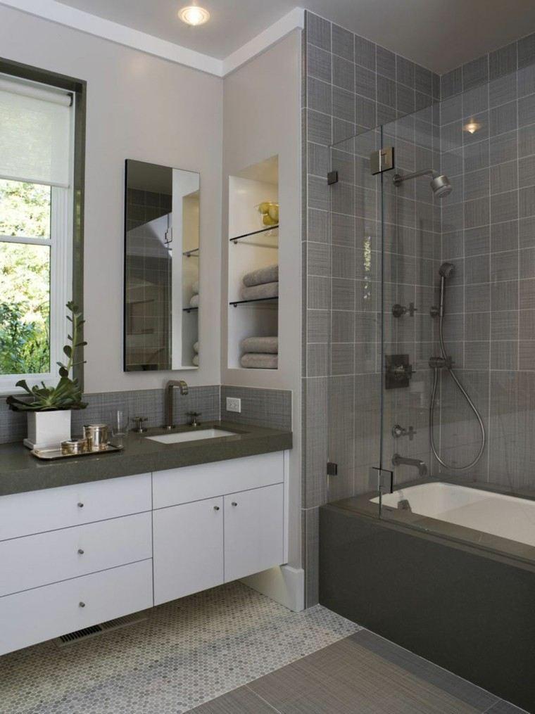 diseño baño pequeño color gris
