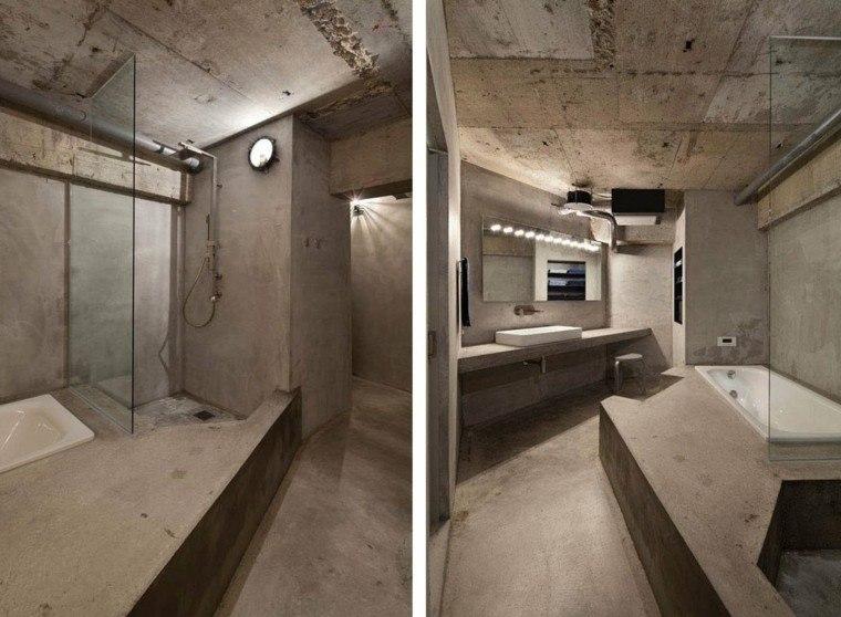 diseño baño cemento estilo lujoso