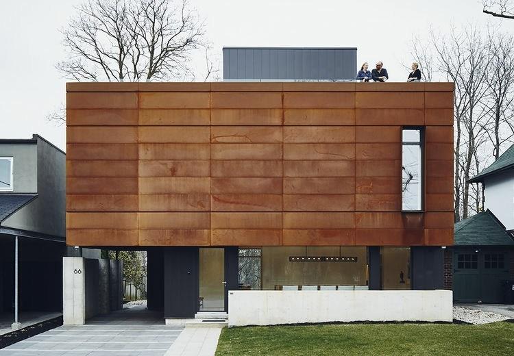 diseño casa moderna fachada oxidada