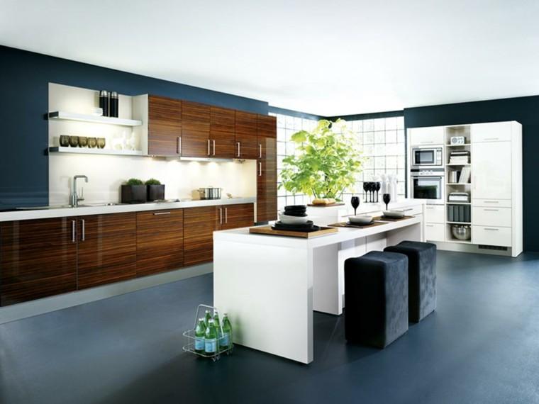 diseño cocina color azul marino
