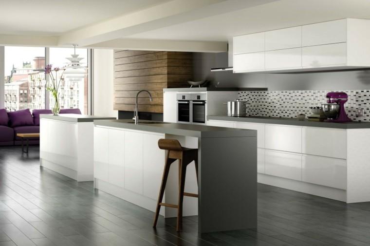 diseño cocina isla color gris