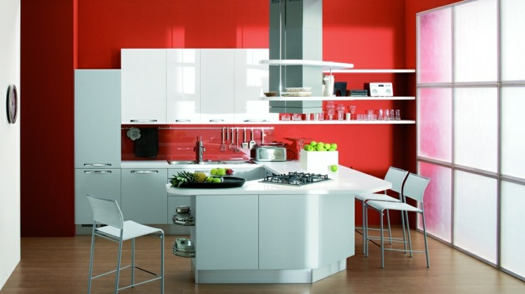 diseño cocinas soluciones rojo paredes isla