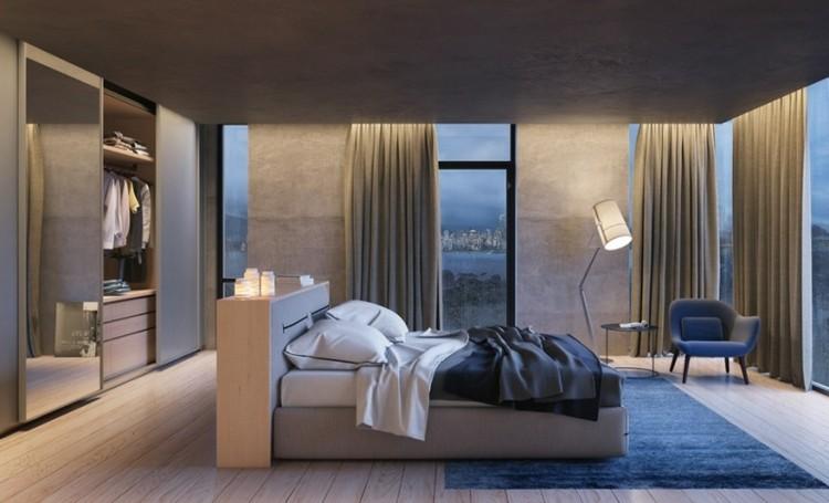 diseño dormitorio moderno paredes cemento