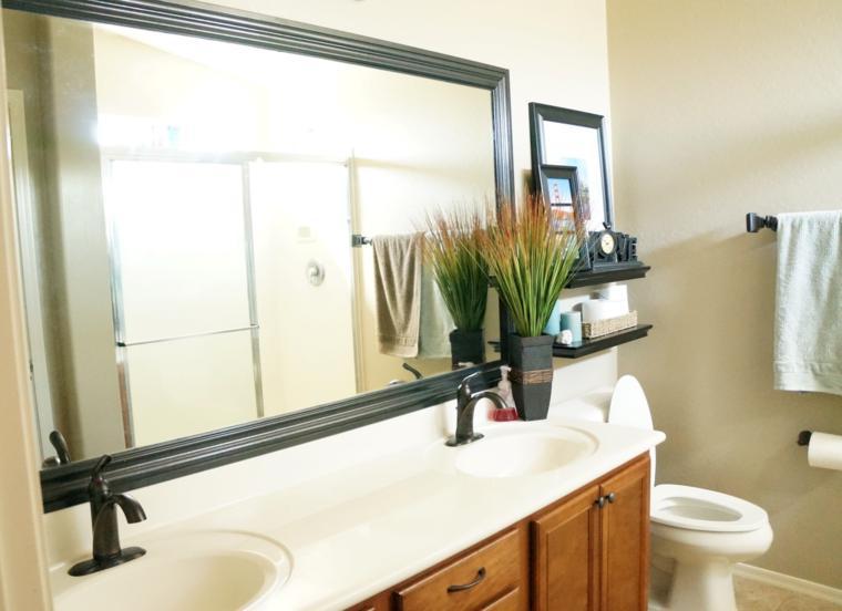 espejos para baños rectangular marco negro