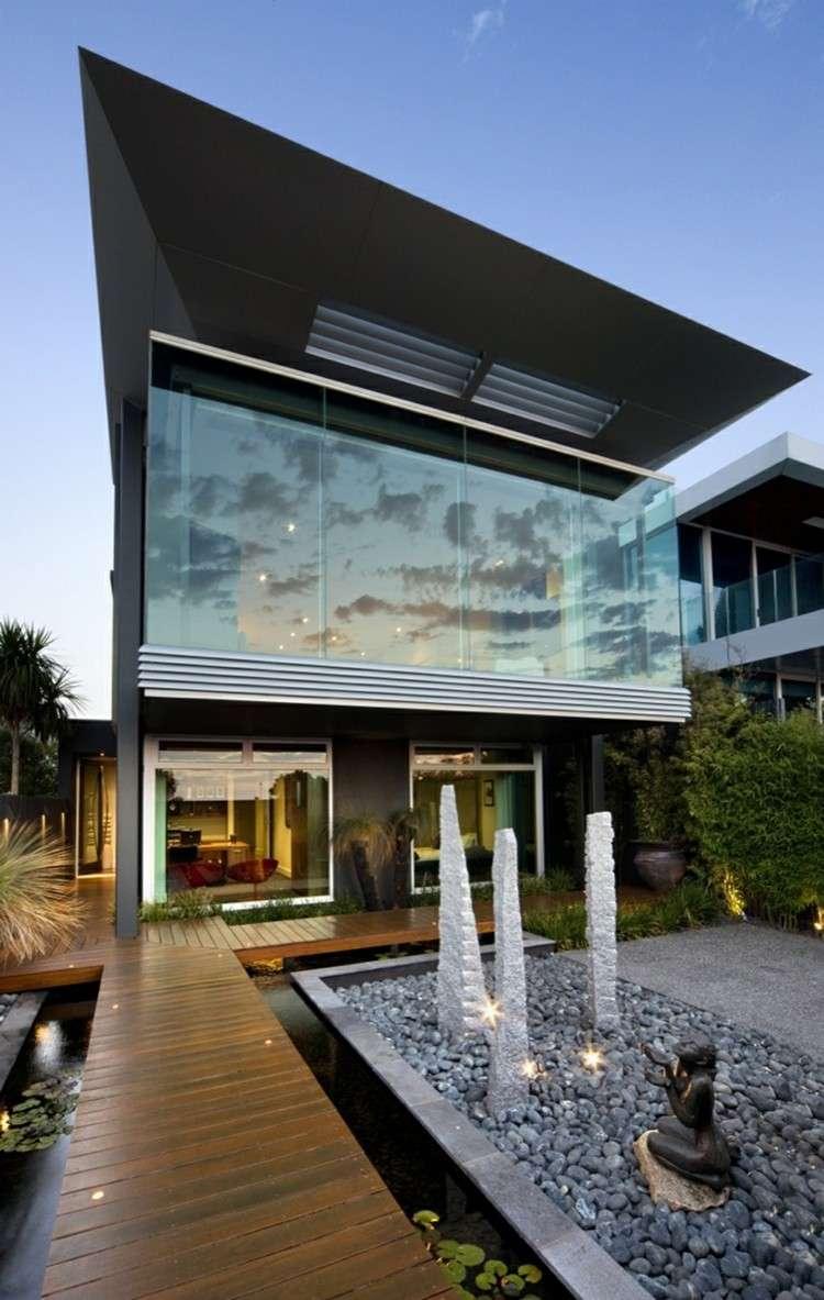 diseño fachada jardin moderno