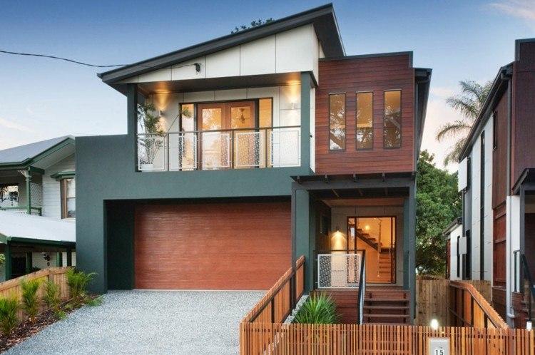 diseño fachada madera verde