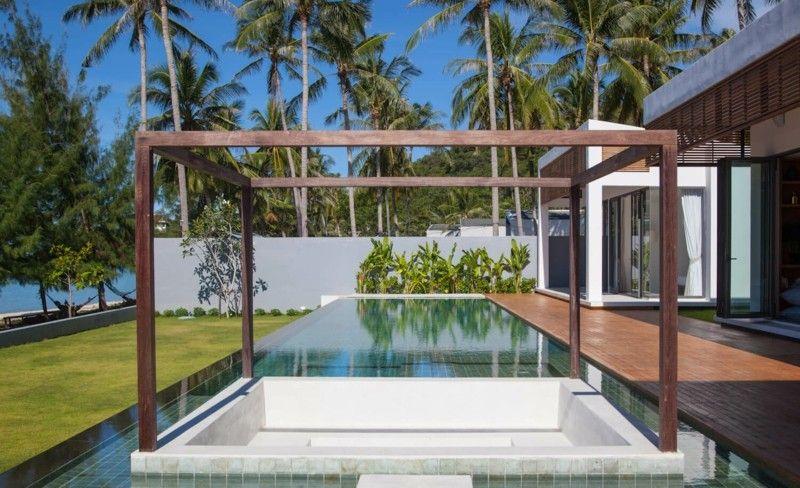 diseño pergola madera moderna piscina