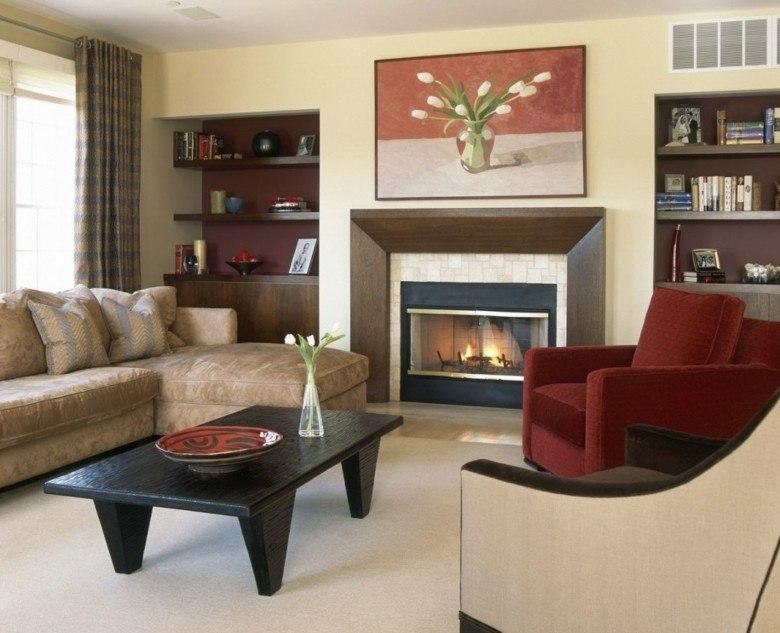 diseño salon sillon rojo clasico