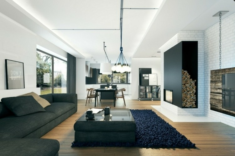 diseño salon moderno chimenea moderna