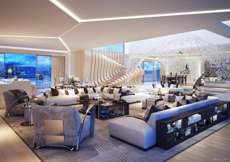 diseño salon moderno luces led