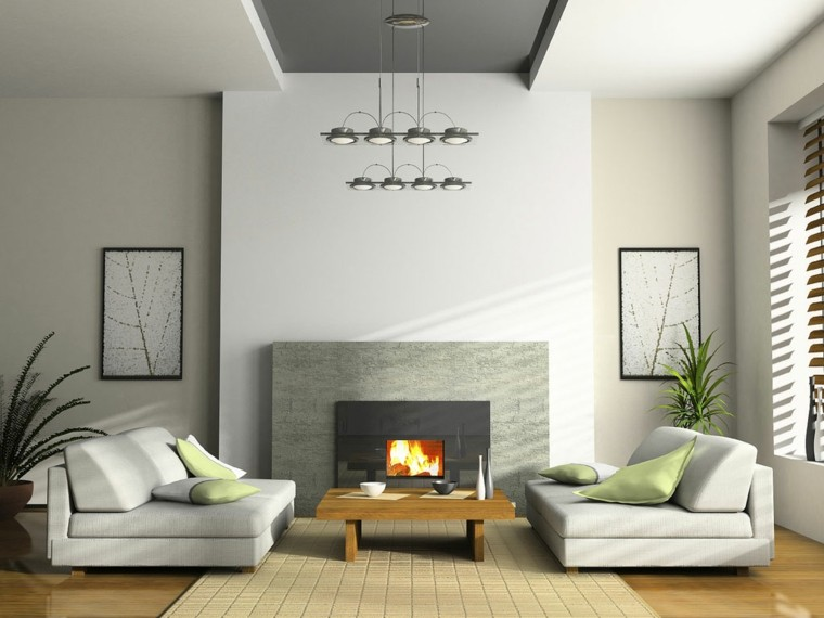diseño salon tonos grises moderno
