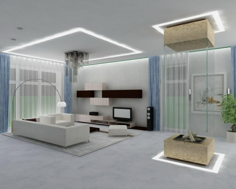diseño salon minimalista moderno futurista