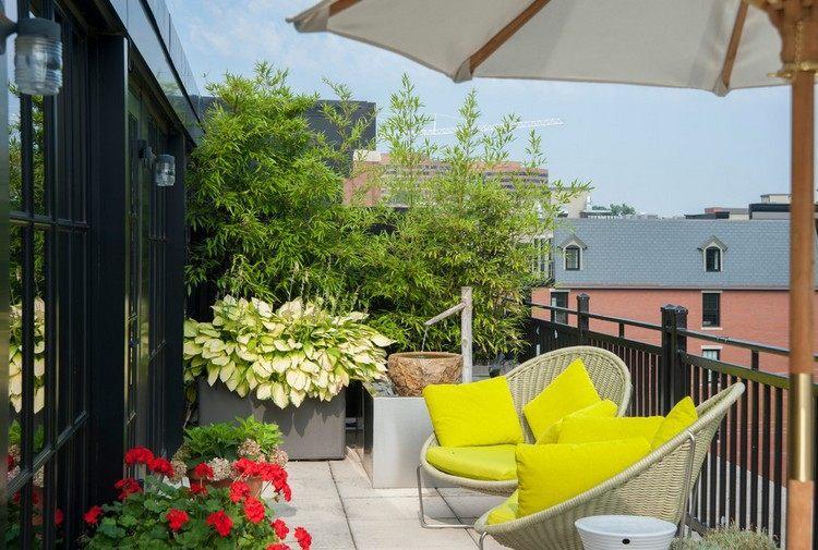 diseño terraza muebles mimbre