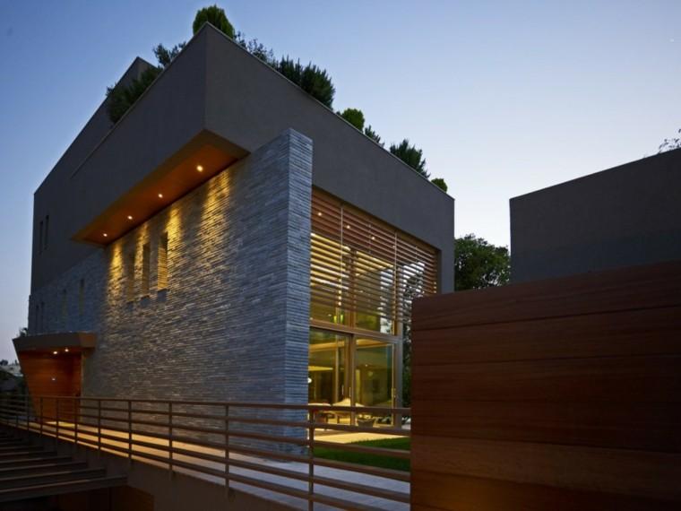 diseño fachada muro piedra gris