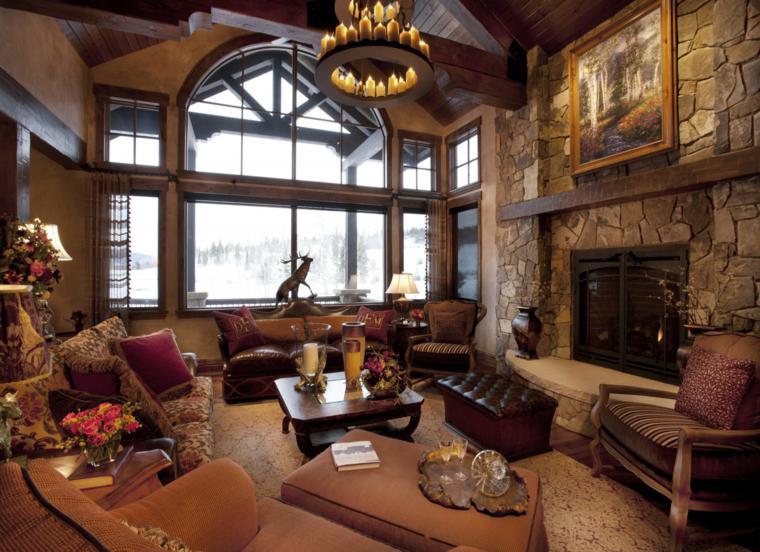 diseño salon lujoso rustico piedra