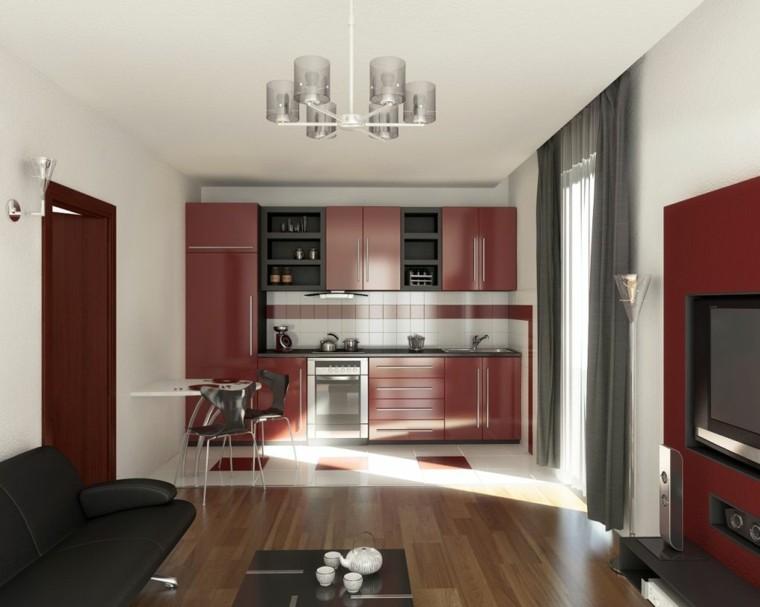 diseño cocina color rojo