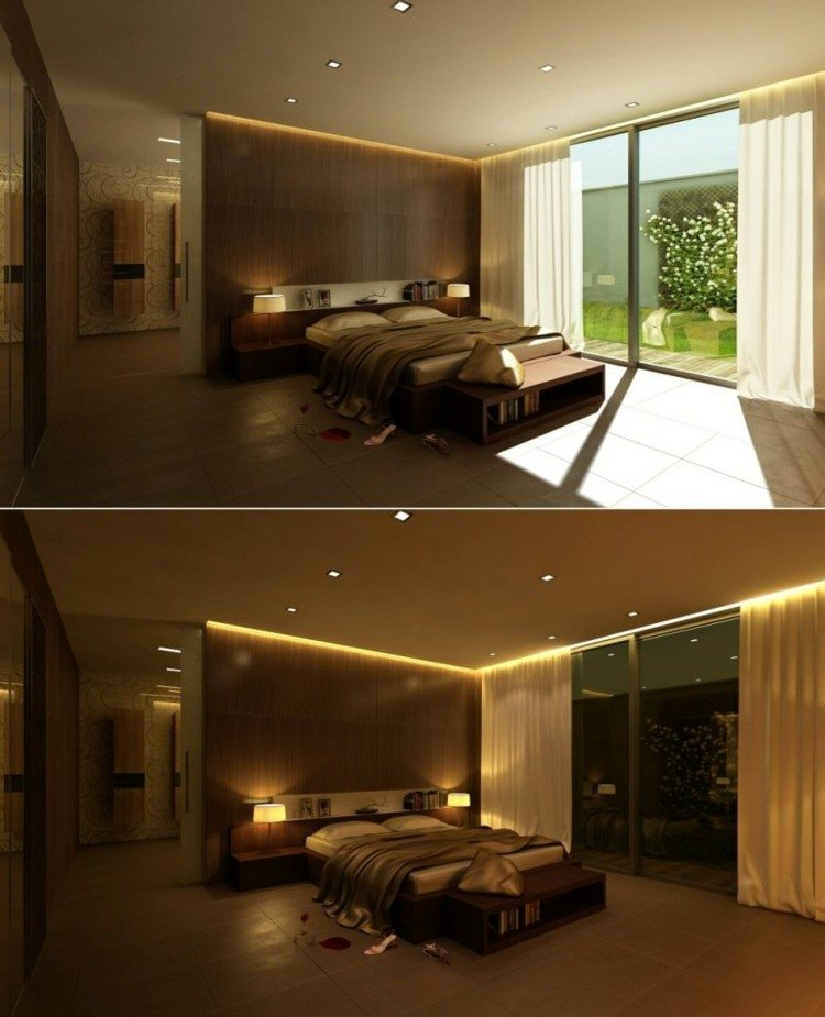 diseño dormitorio moderno pared madera